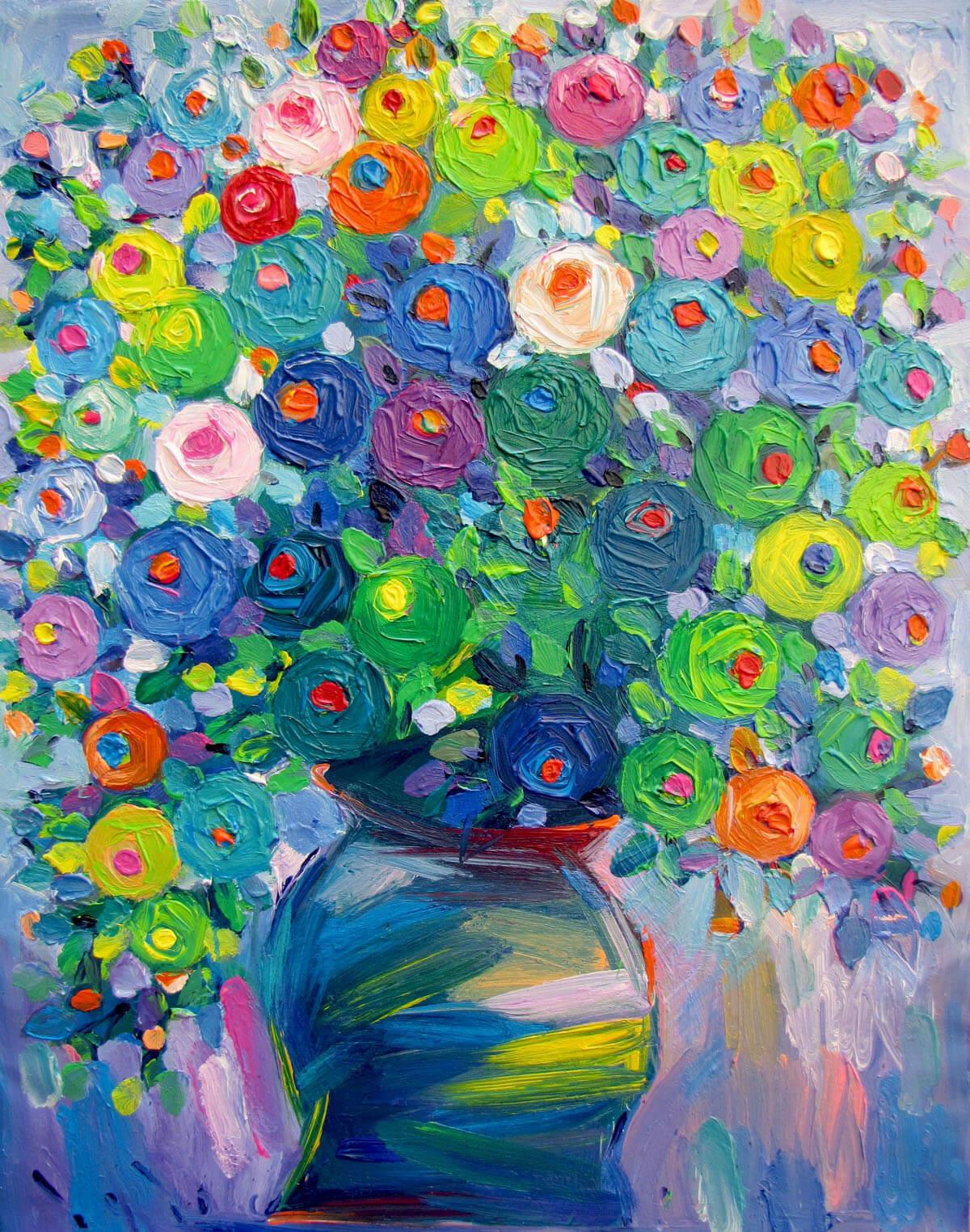 Still-life with vase of flowers 03-Original Vietnamese Art