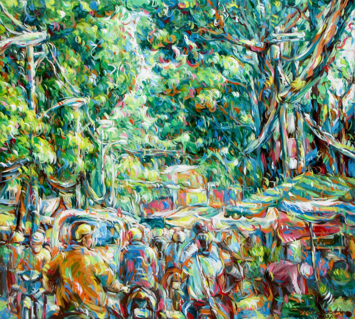Busy street corner 03-Vietnamese Painting
