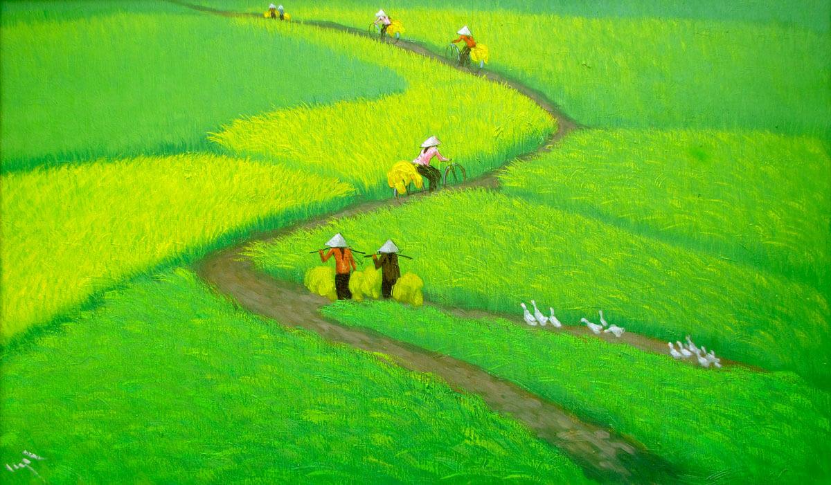 Golden sun on the rice field 01-Vietnamese Painting