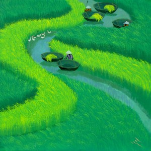 Paddy field 01-Vietnamese Painting