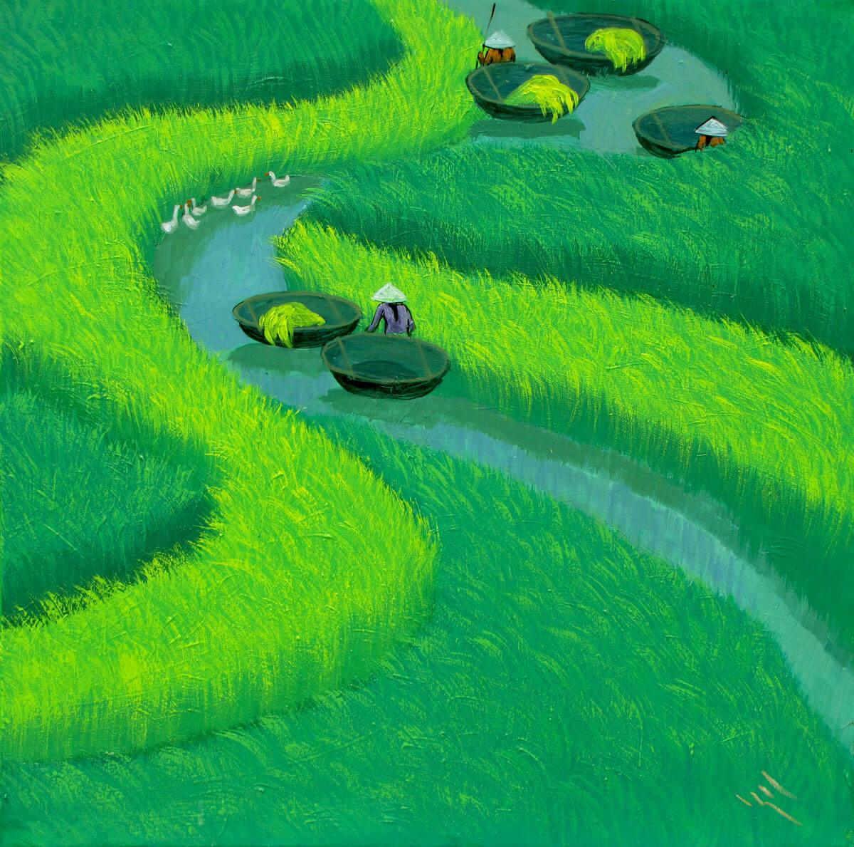 Paddy field 01-Vietnamese Painting