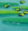 Paddy field 04-Vietnamese Painting