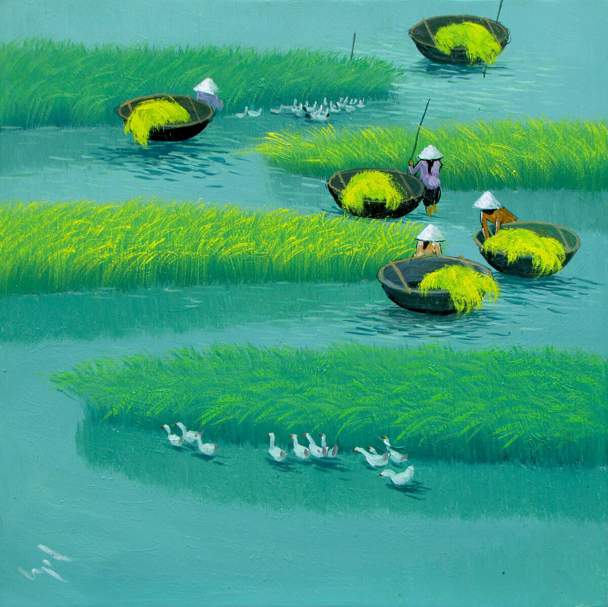 Paddy field 04-Vietnamese Painting