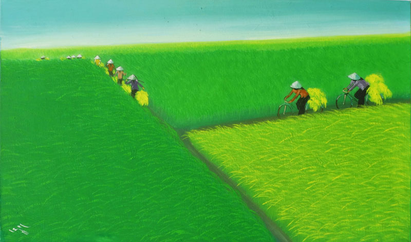 Golden Sun on the Rice Field 02 - Vietnamese Art