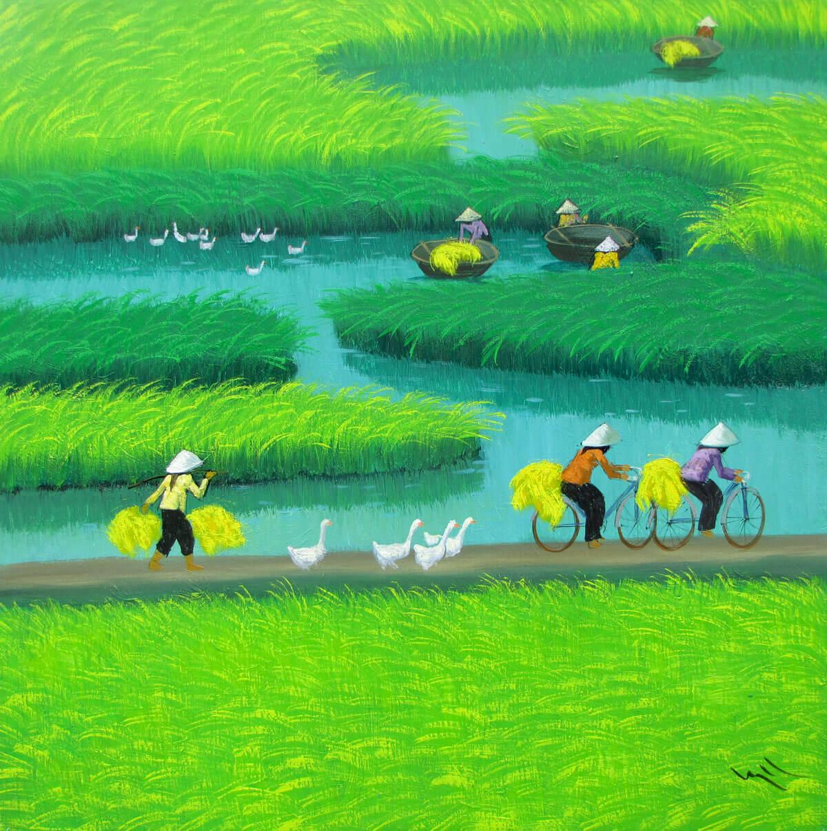 Paddy field-Vietnamese Painting