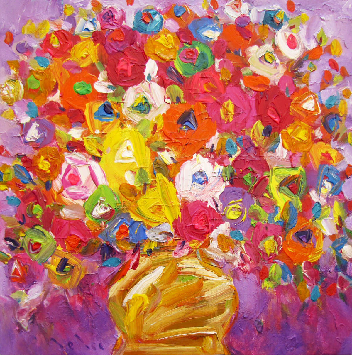 Still-life with vase of flowers 04-Original Vietnamese Art