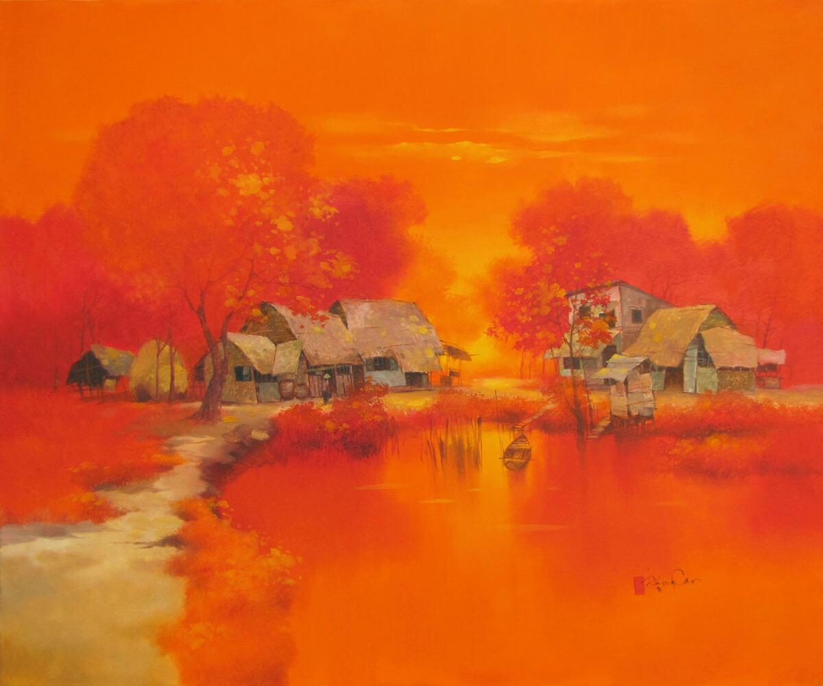 Summer noon in Village-Original Vietnamese Art