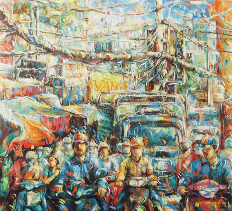 Busy street corner 02-Vietnamese Painting