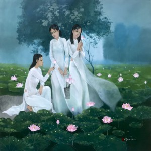 Young ladies with lotus 03-100x100