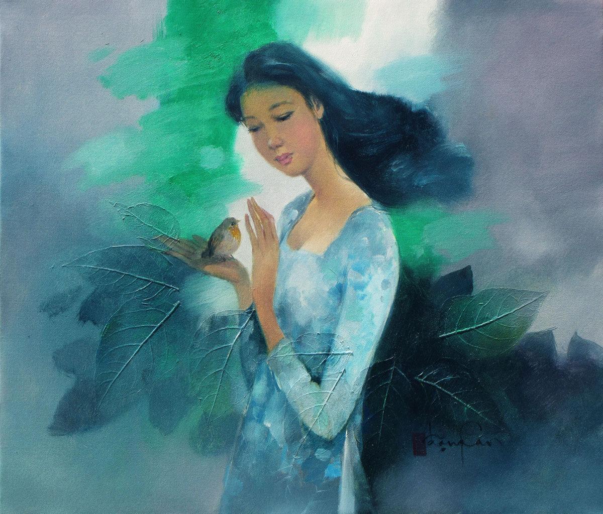 Young lady and the bird-Original Vietnamese Art