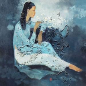 Young lady in the garden-Original Vietnamese Art