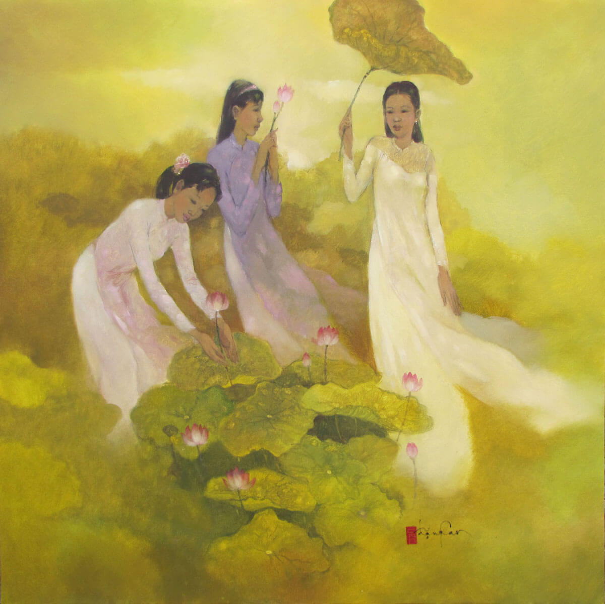 Ladies pick lotus flower-Original Vietnamese Art