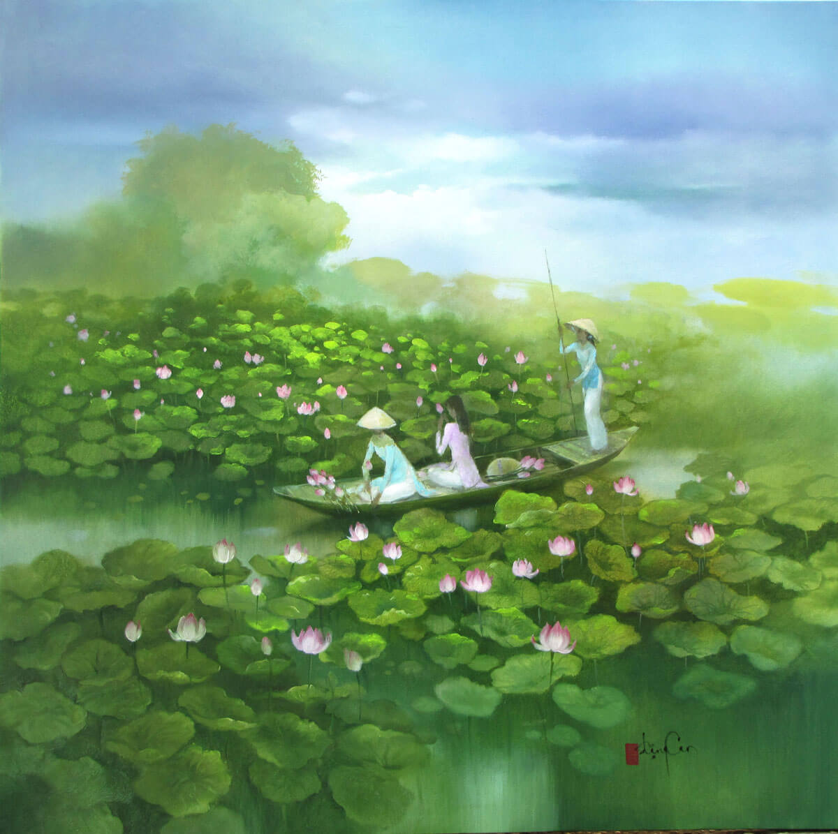 Lotus pond-Original Vietnamese Art