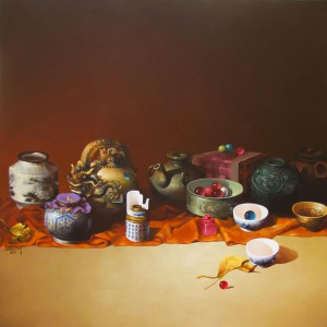 Still-life with antique pots 01-Original Vietnamese Art