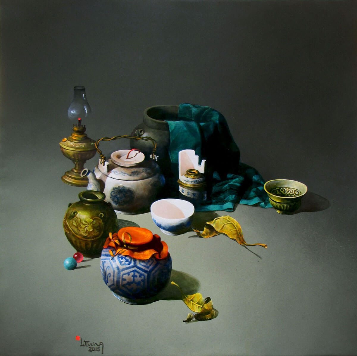Still-life with green cloth-Original Vietnamese Art