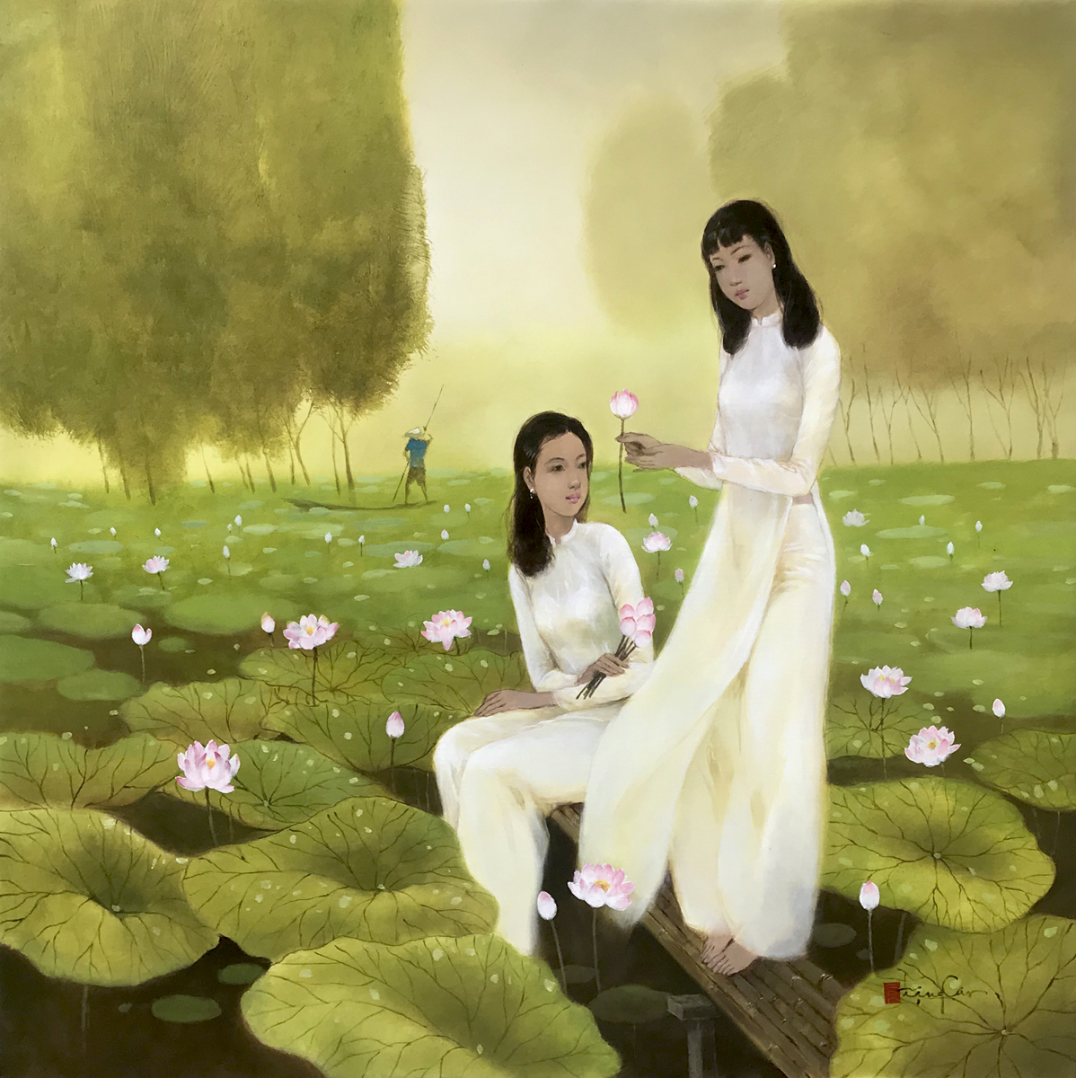 Young ladies with lotus 02-100x100