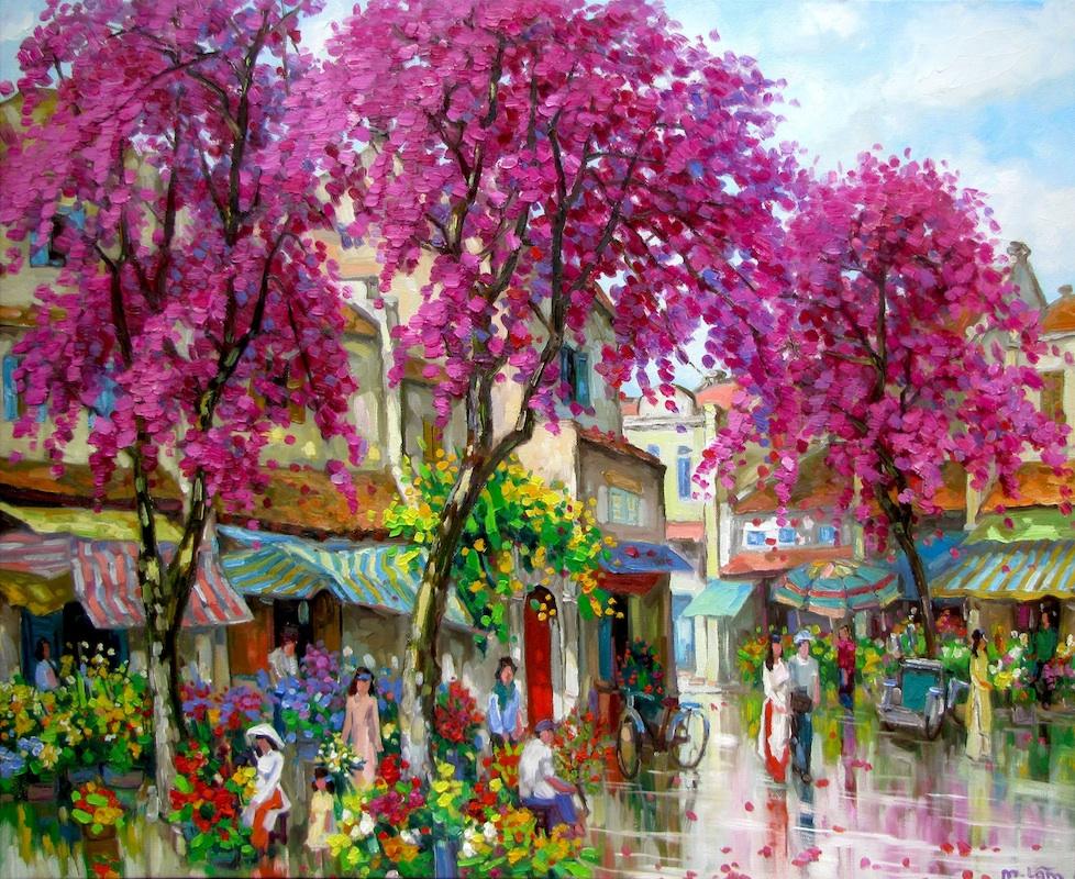 Flower market in Spring-90x110