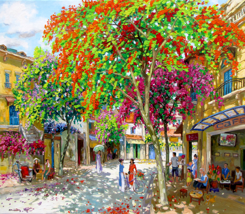 Street corner in Spring-Original Vietnamese Art