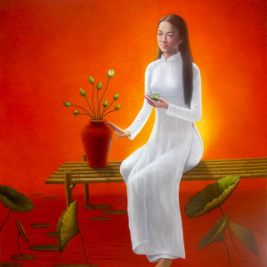 Lady with Lotus - 80x100