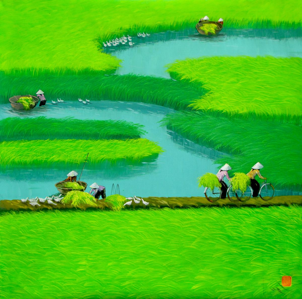 Paddy field 07-Original Vietnamese Art