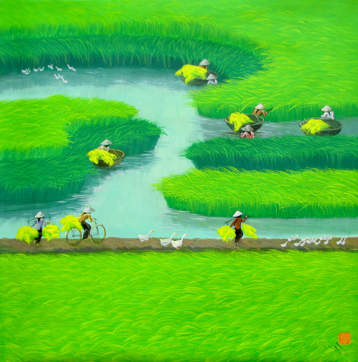 Paddy field 08-Original Vietnamese Art