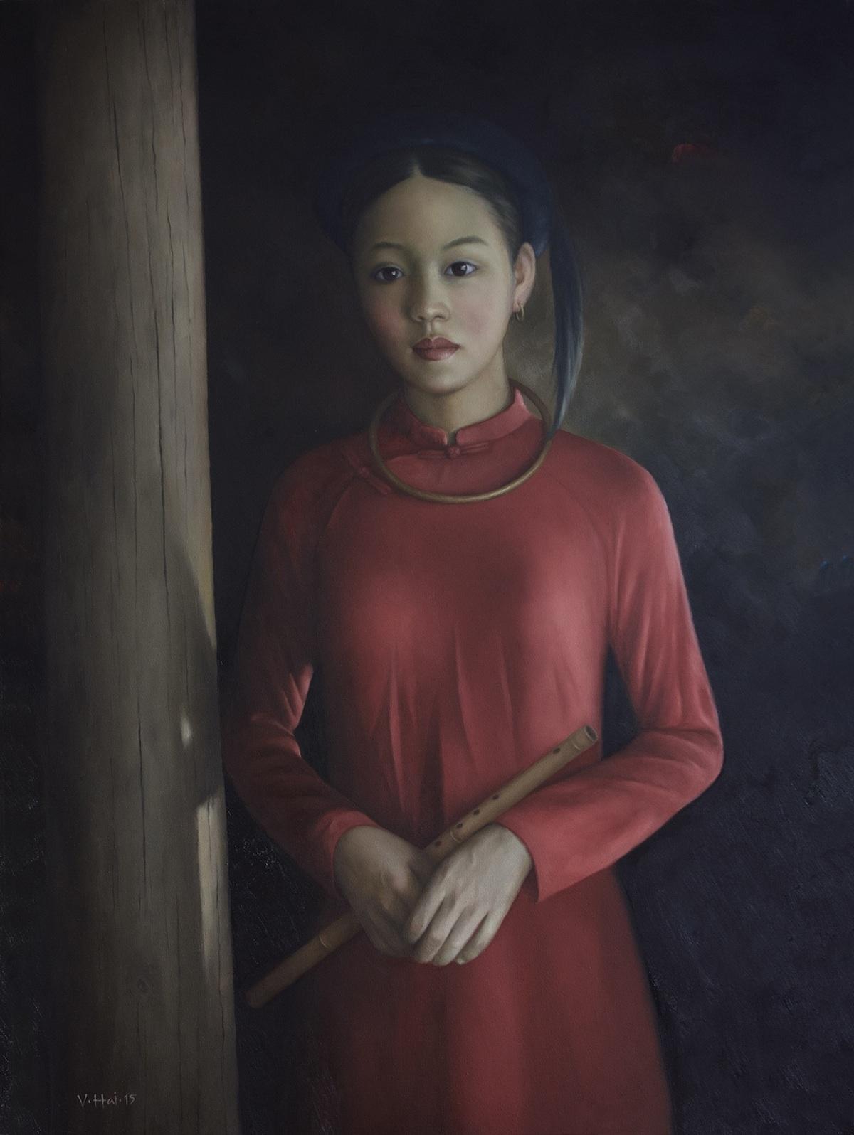 Girl with the flute-Original Vietnamese Art