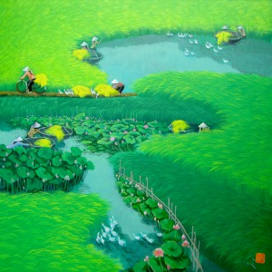 Lotus on the rice field 2-90x90