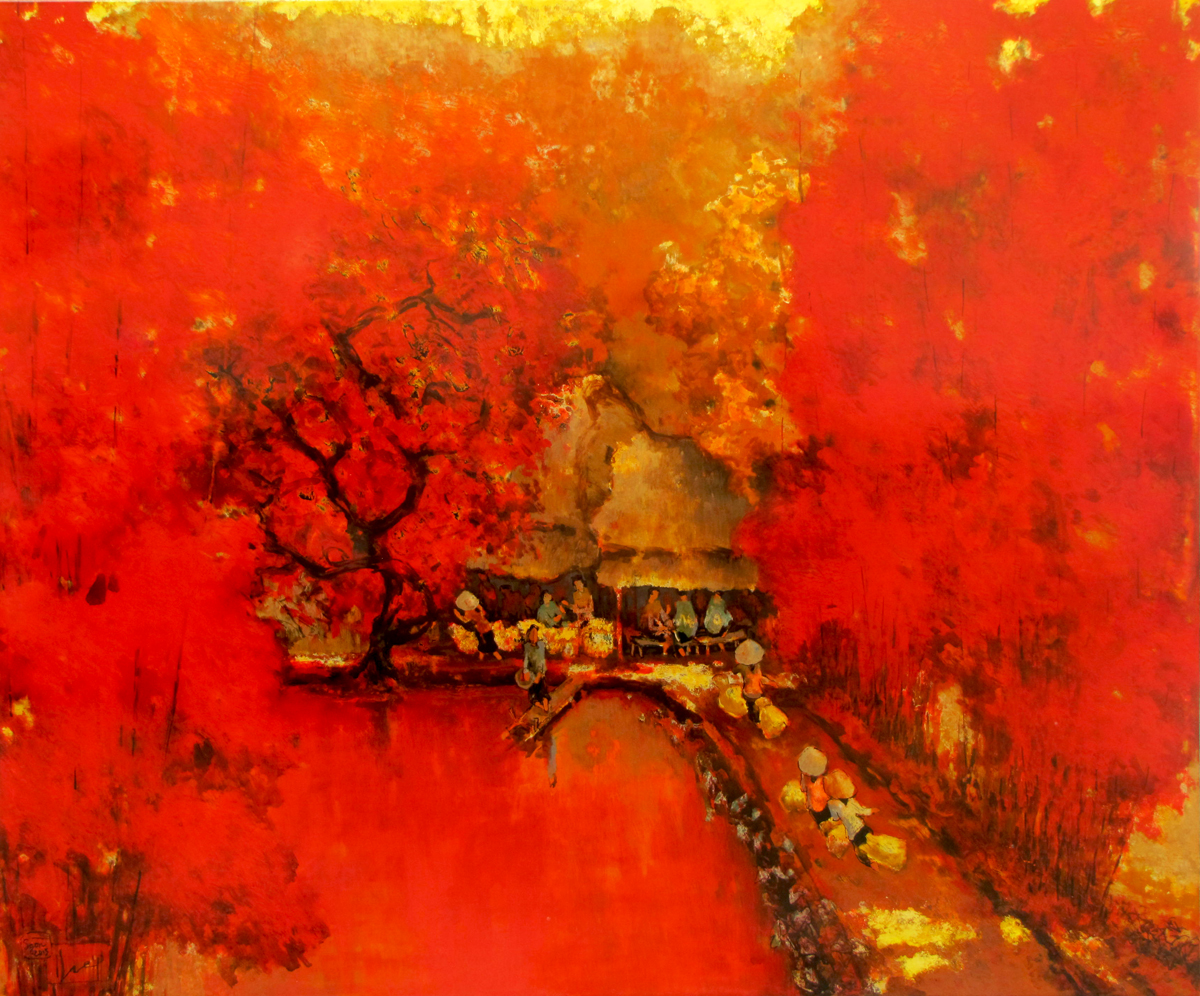 Village Noon - Original Vietnamese Art