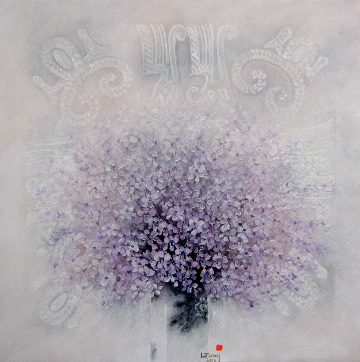 Vase of Purple Flowers - Vietnamese Art
