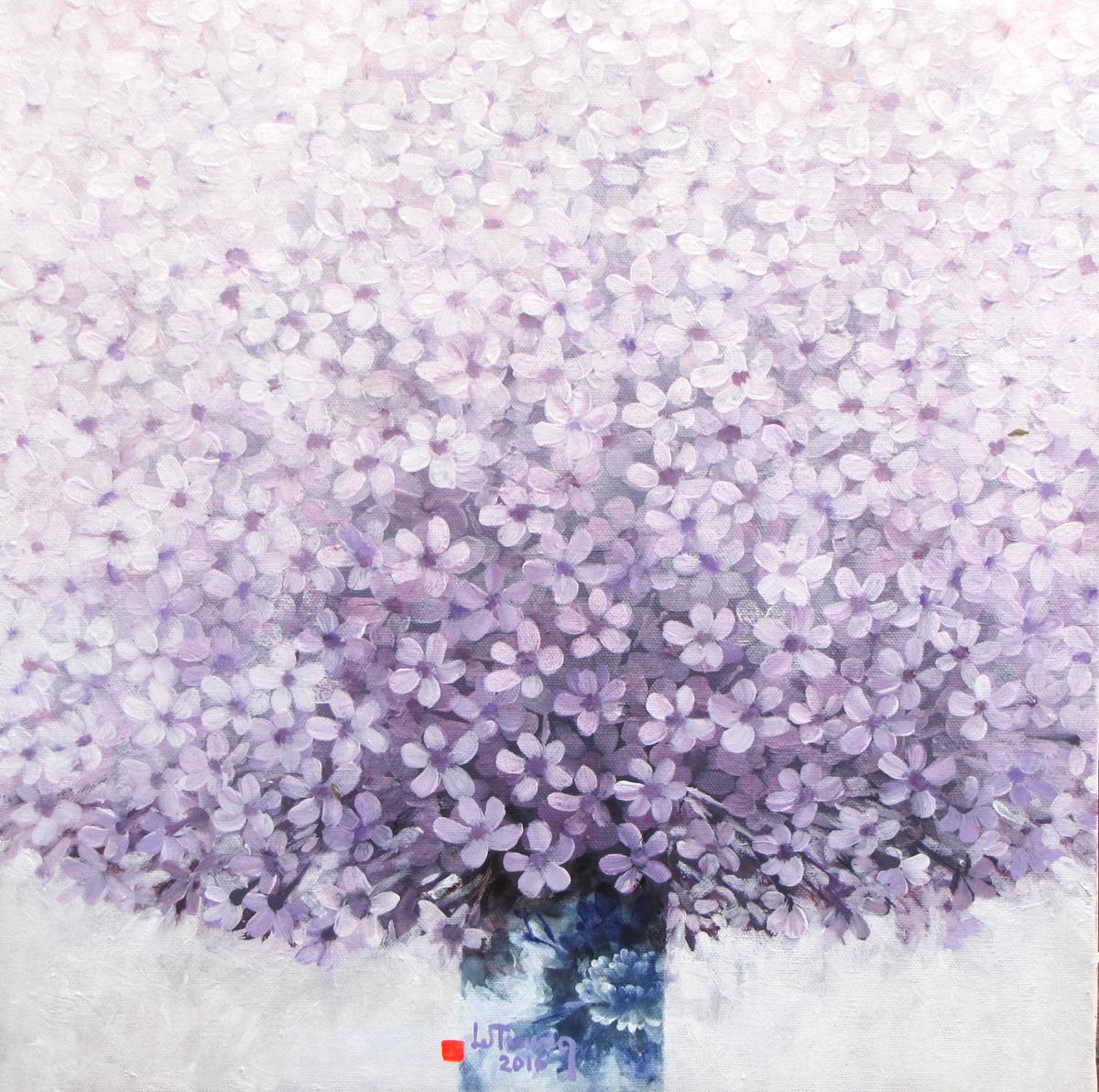 Vase of Purple Flowers - Vietnamese Paintings