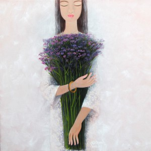 Young Lady with Lavender Flowers -  Vietnamese Painting