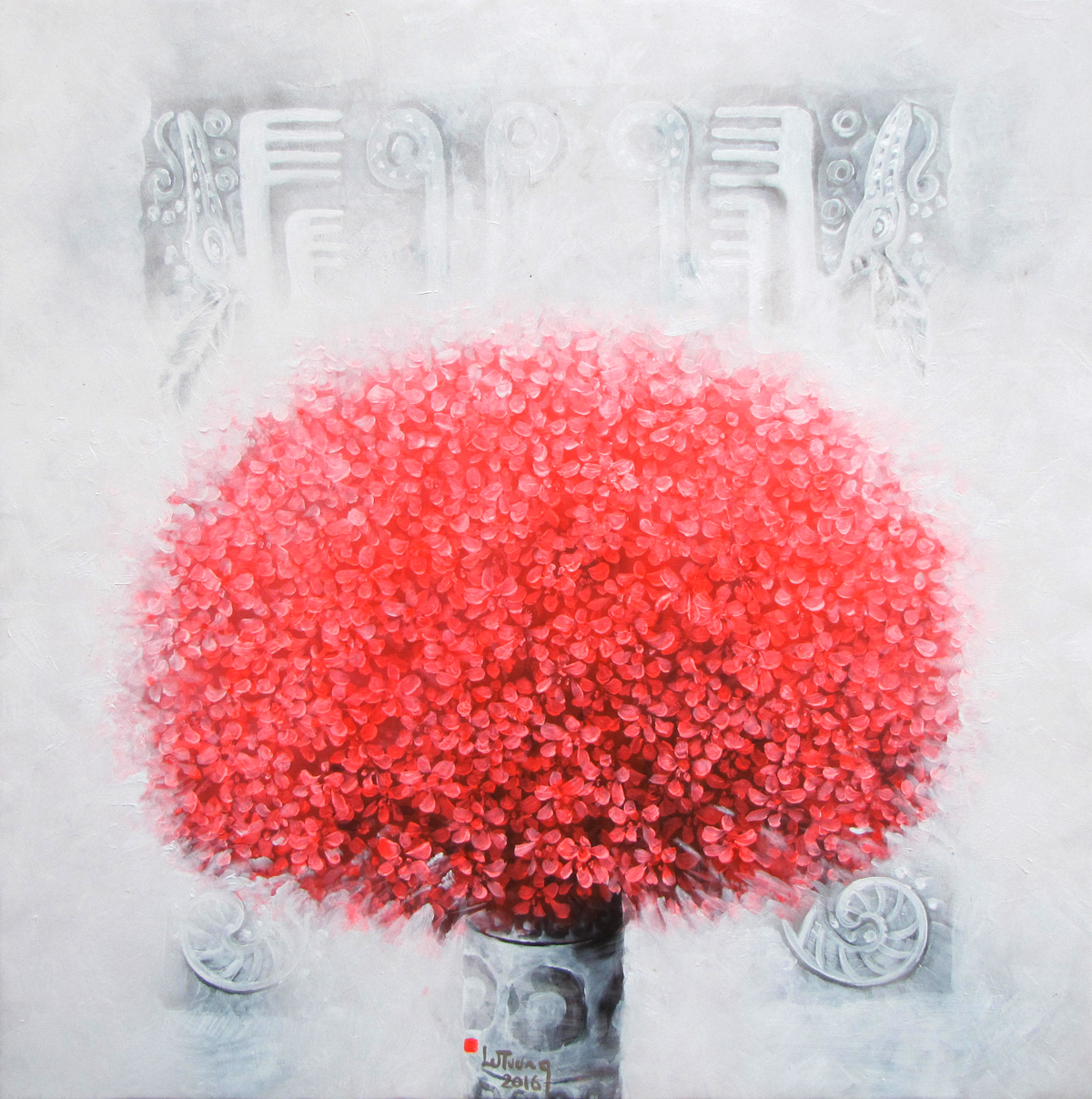 Vase of Red Flower - Original Vietnamese Art