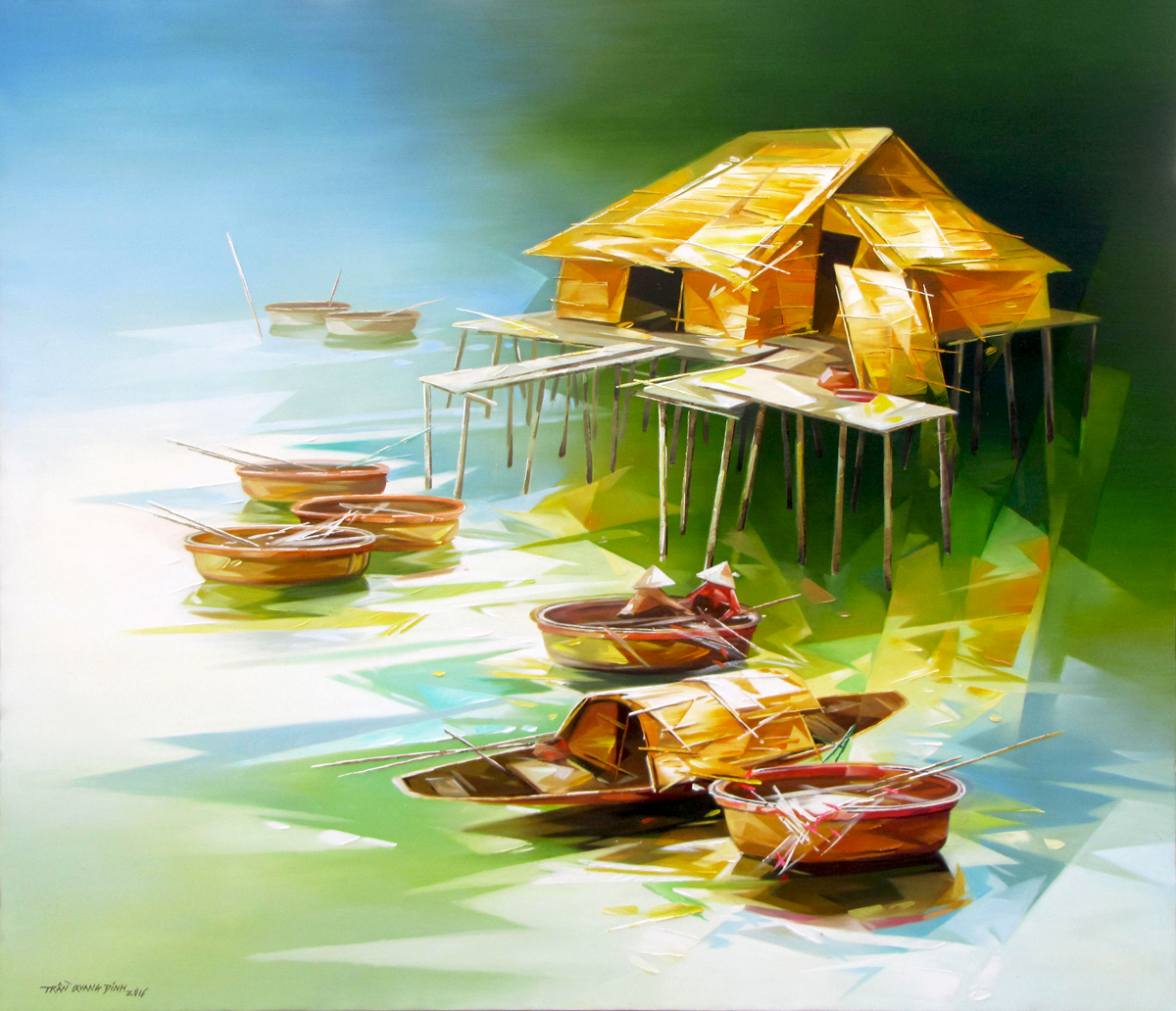 Vietnamese Art-Fishing Village, an Oil Painting on Canvas