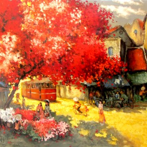 Vietnamese Art-In the Summer, a Lacquer Painting on Wood