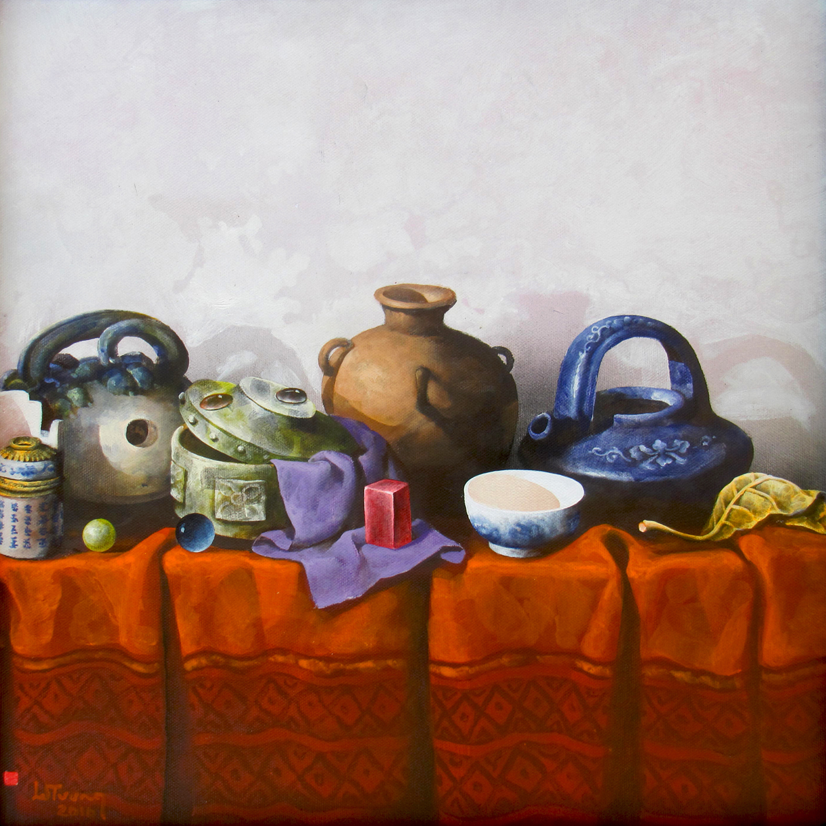 Vietnamese Art-Still Life with Antique Pots, an Oil Painting on Canvas