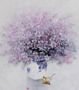 Vietnamese Art-Vase of Purple Flowers, an Oil Painting on Canvas