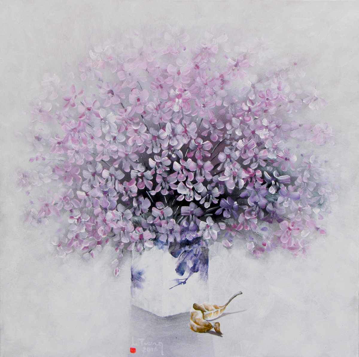 Vietnamese Art-Vase of Purple Flowers, an Oil Painting on Canvas