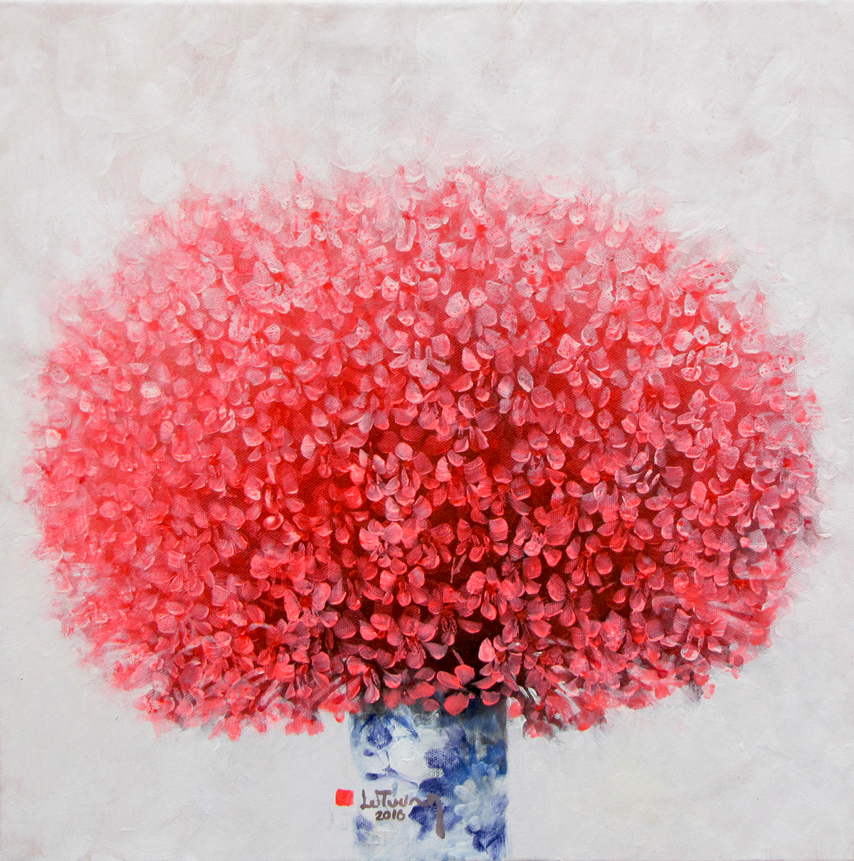 Vietnamese Art-Vase of Red Flowers, an Oil Painting on Canvas