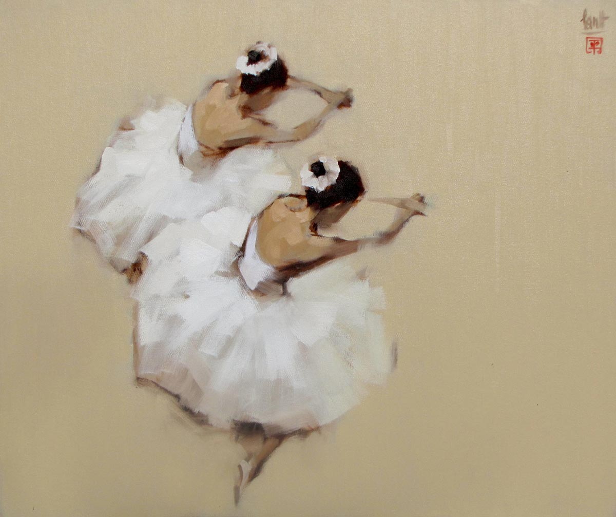 Vietnamese Art-Ballerinas, an Oil Painting on Canvas