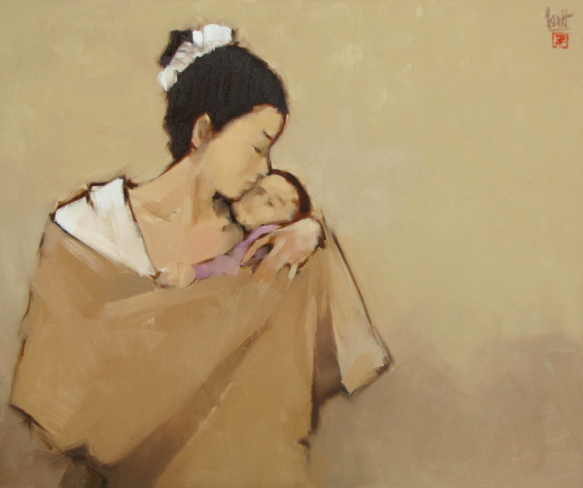 Vietnamese Art-Mother with her Child, an Oil Painting on Canvas