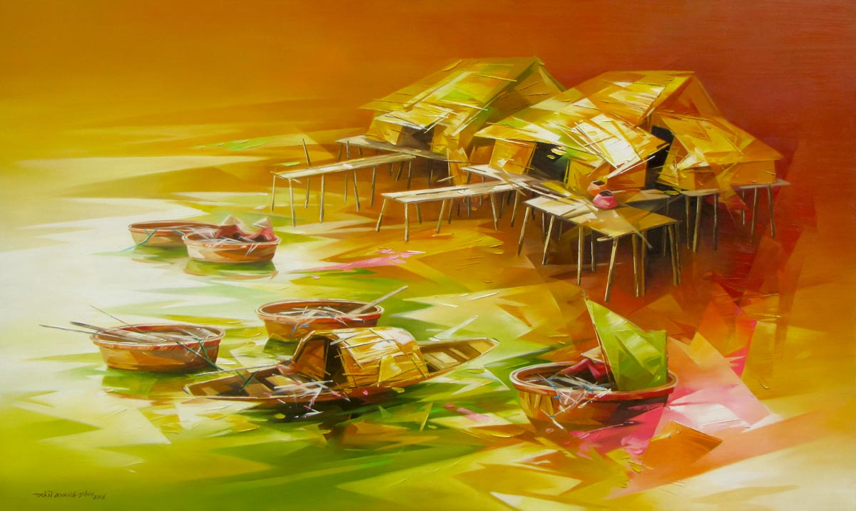 Vietnamese Art-Fishing Village 03, an Oil Painting on Canvas