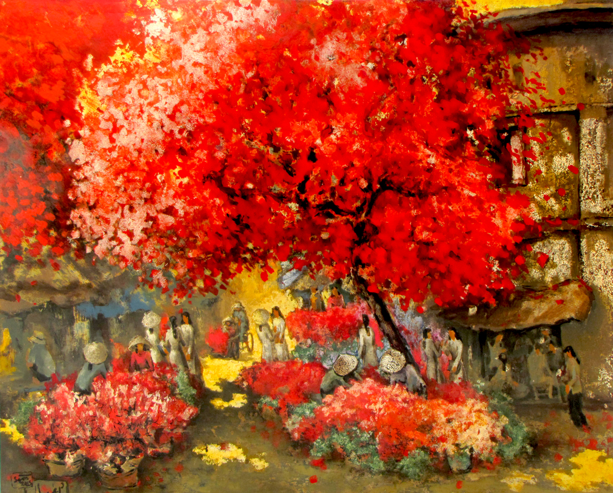 Vietnamese Art-Flower Market, a Lacquer Painting on Wood
