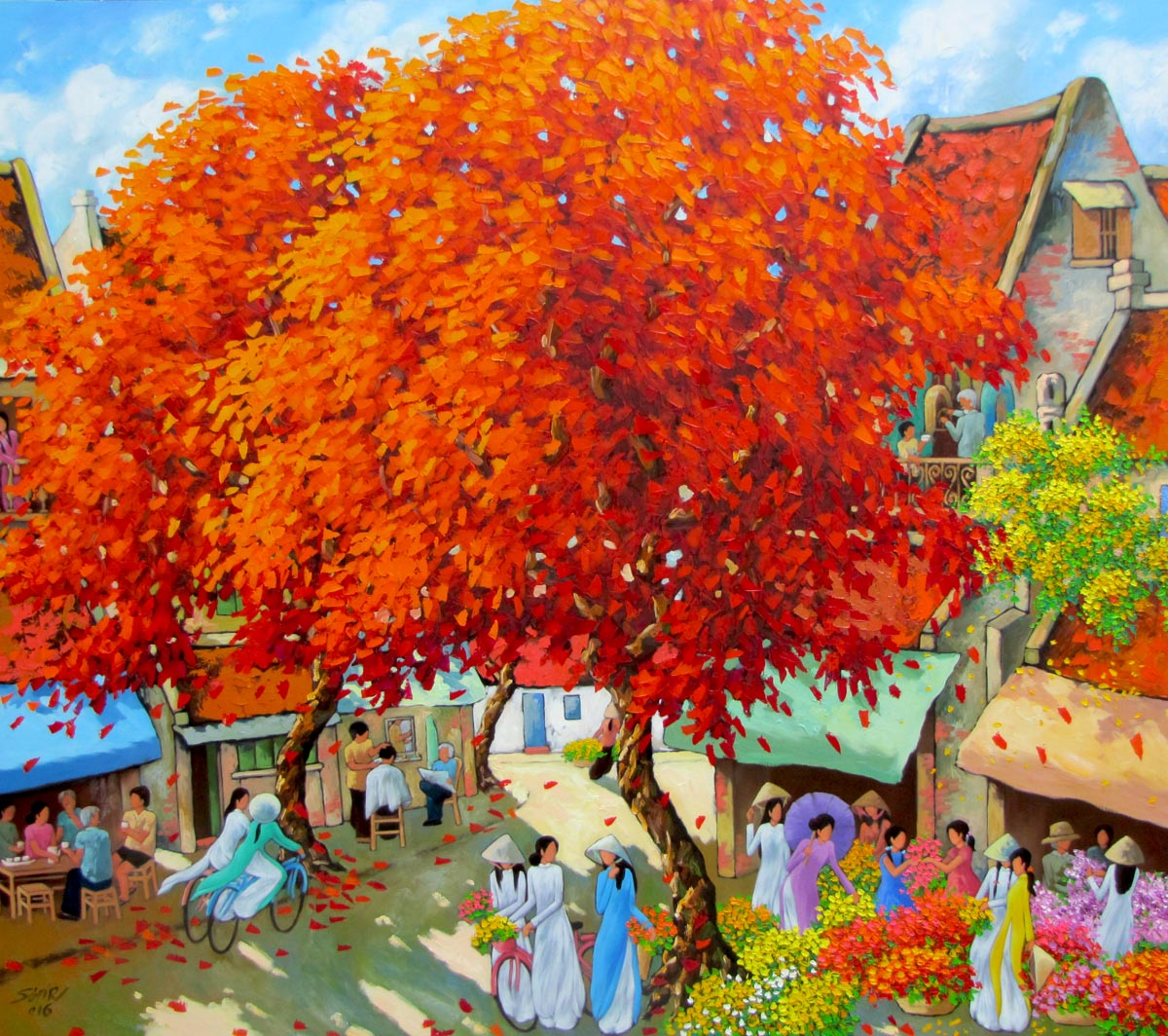 Duong Ngoc Son-Blossom trees in Summer-140x160cm