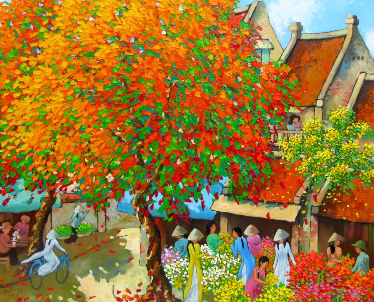 Duong Ngoc Son-Busy morning in Spring 01-90x110cm