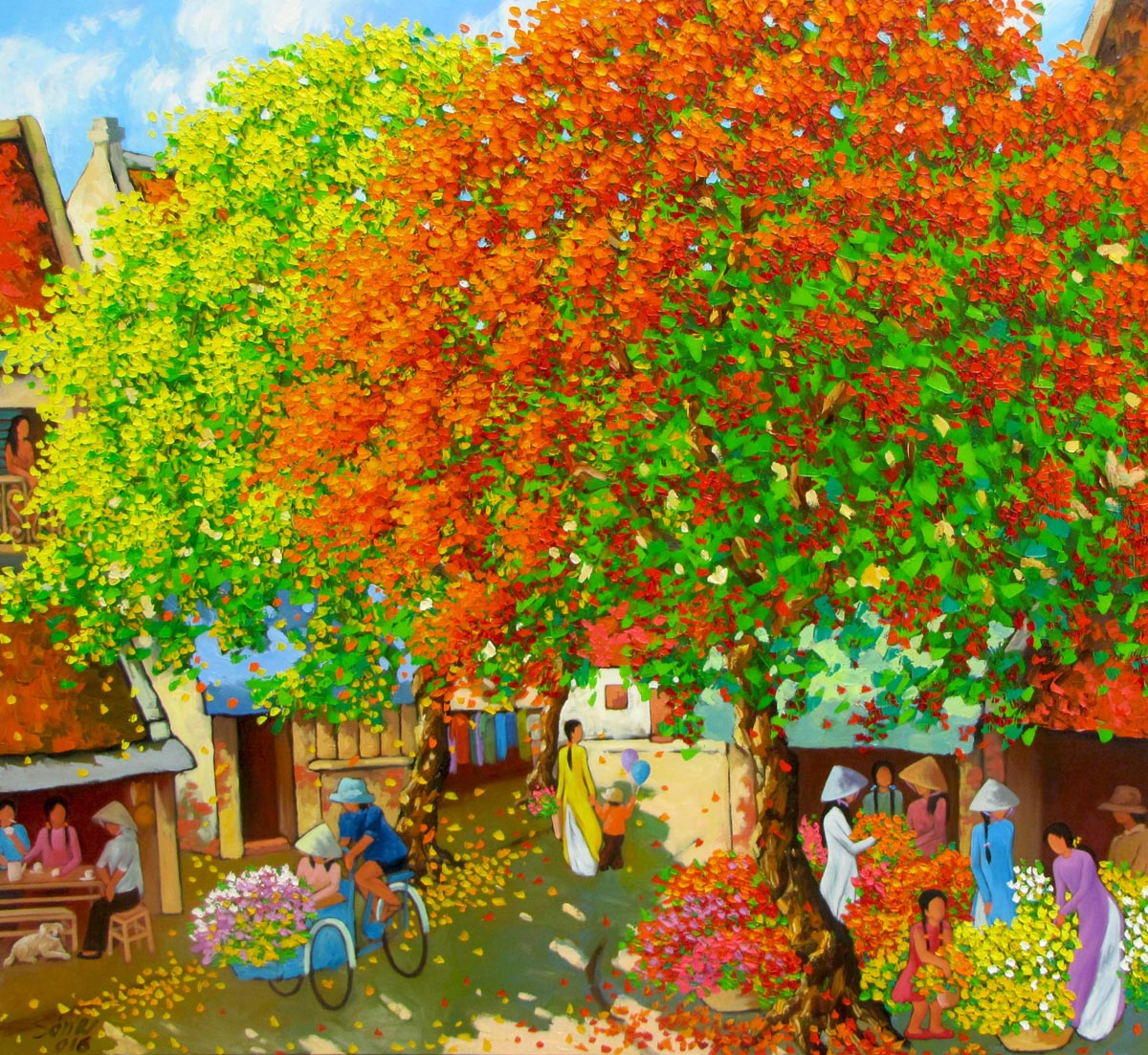 Duong-Ngoc-Son-Busy-morning-in-Spring 02-100x110cm