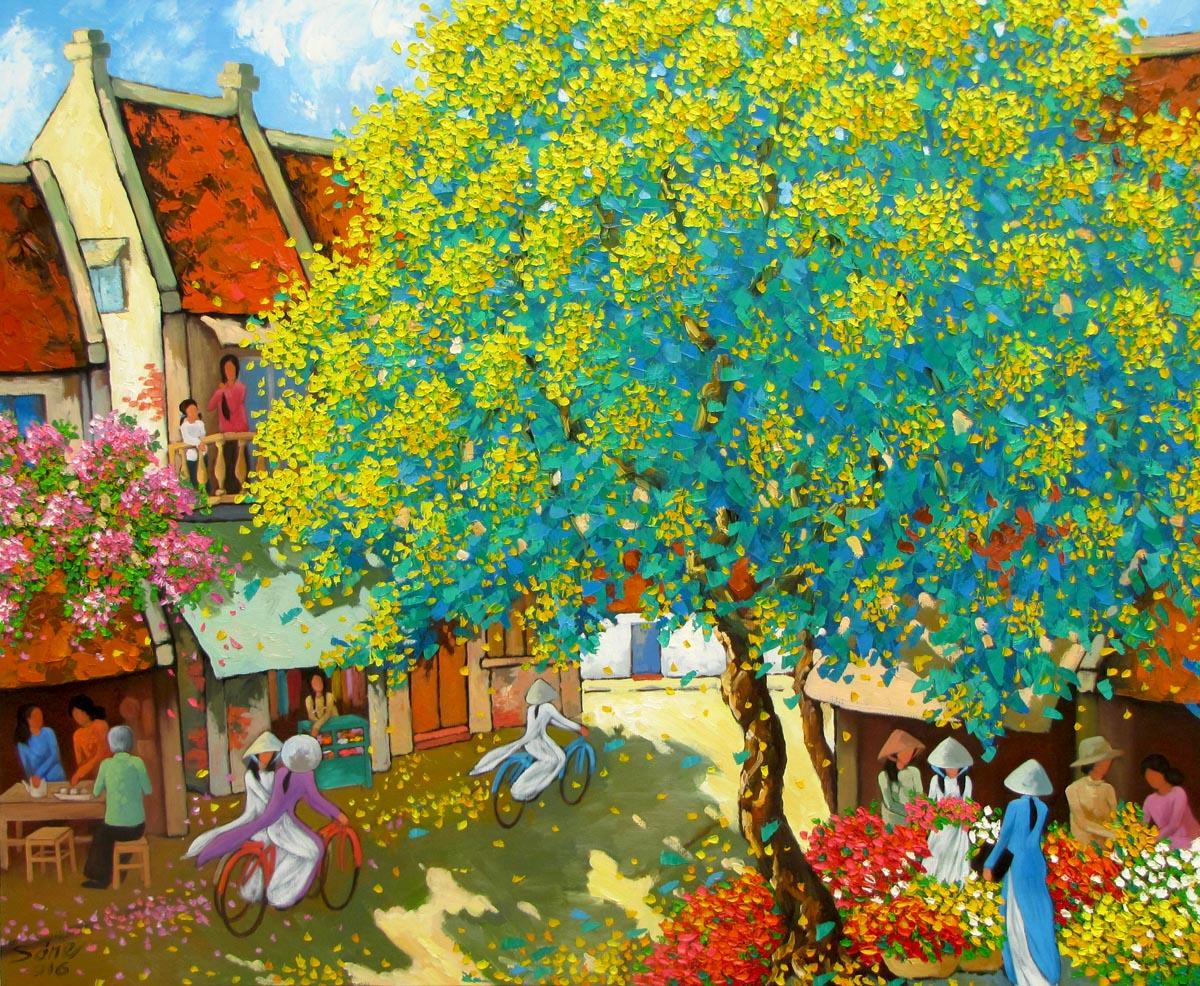 Vietnamese Art-Street corner in Spring, an Oil Painting on Canvas