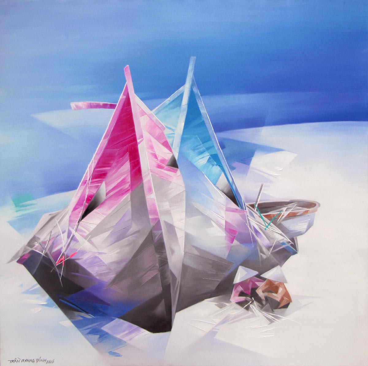 Vietnamese Art-Resting Boats 06, an Oil Painting on Canvas
