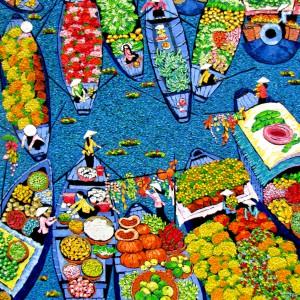 Tran Thu Huong-Floating market 02-100x120