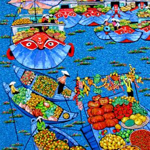 Tran Thu Huong-Floating market-100x120cm