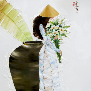 Lady with Lily flowers-80x80cm